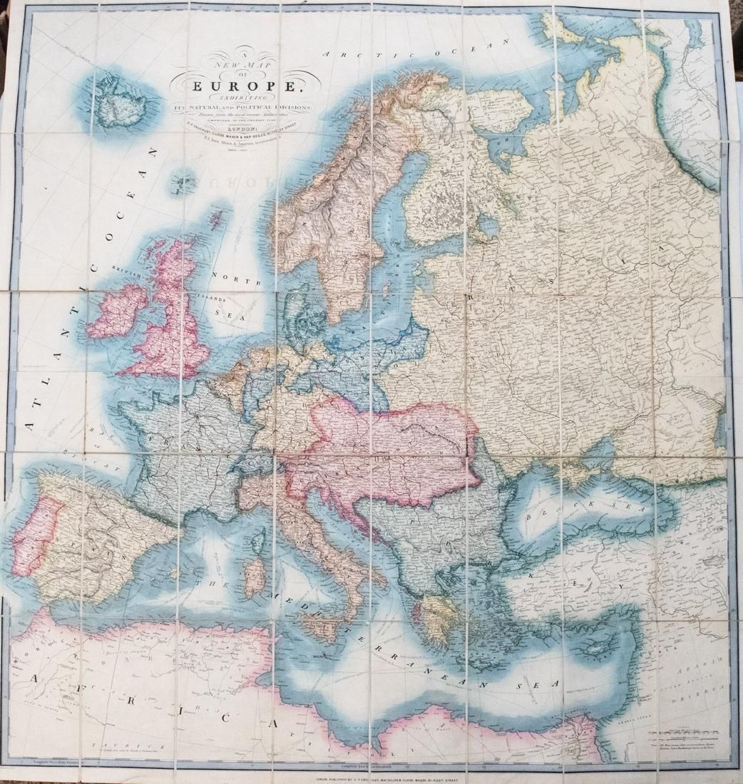 1856 Cruchley Map of Europe with Early railroads Shown