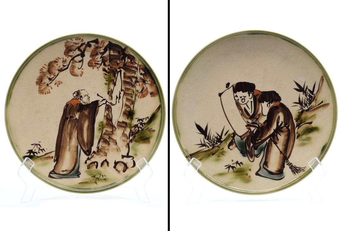 (2) Antique Porcelain Japanese Swatow Styled Plates - 2