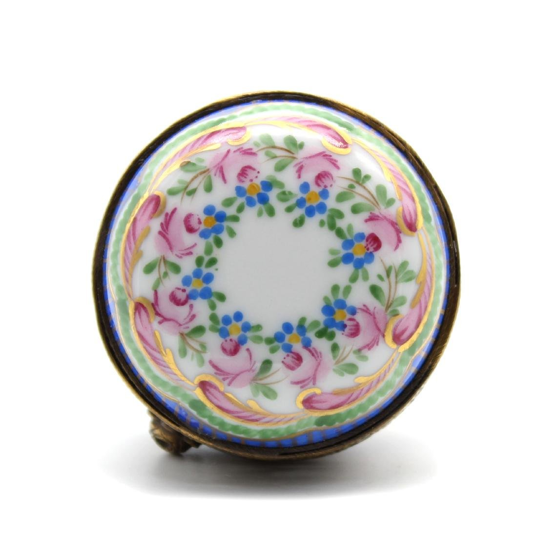 French Pierced Metal & Hand Painted Limoges Floral Box - 4