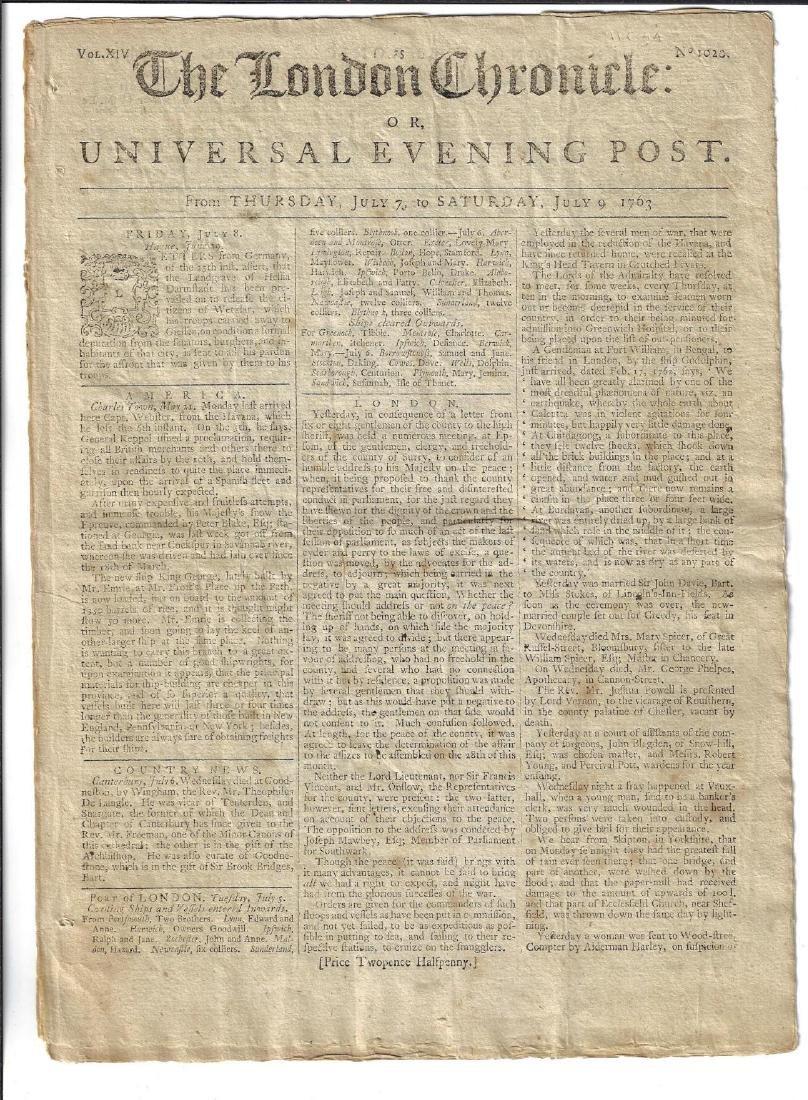 1763 London Chronicle July 7-9 America