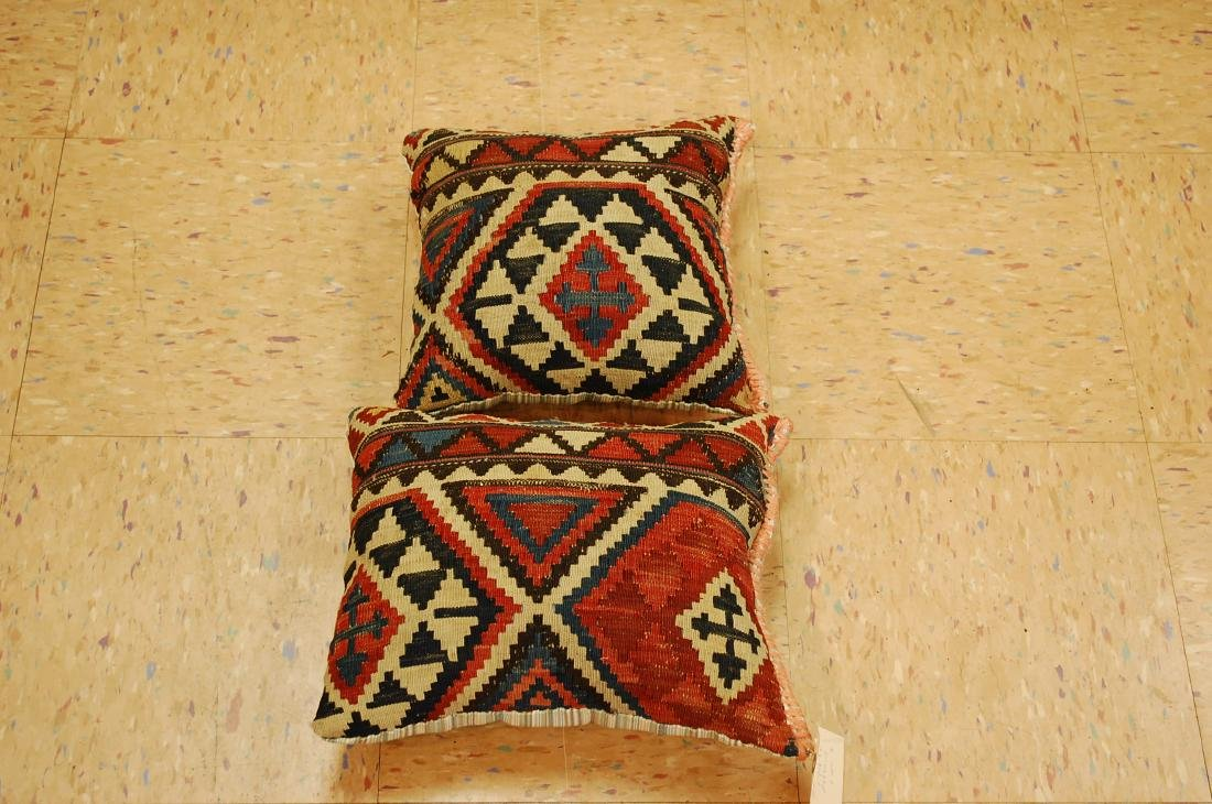 2 Fine Caucasian Kilim Pillow 1.2x1.5