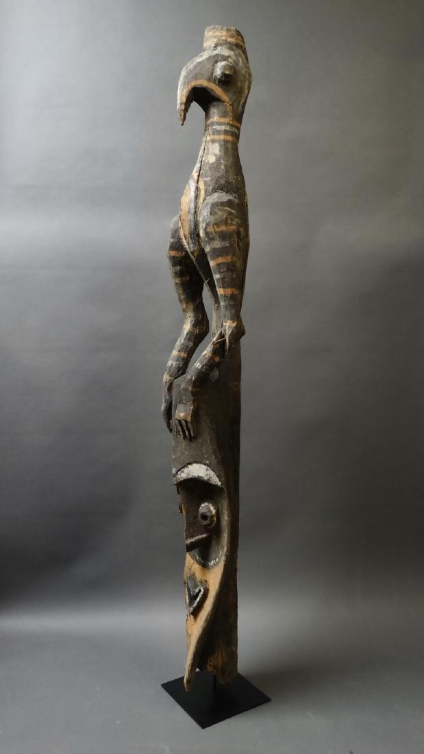 Old 1.5 Mtr Hornbill Bird Figure With Ancestor Sepik