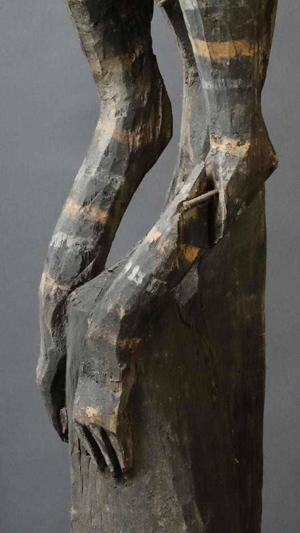 Old 1.5 Mtr Hornbill Bird Figure With Ancestor Sepik - 3