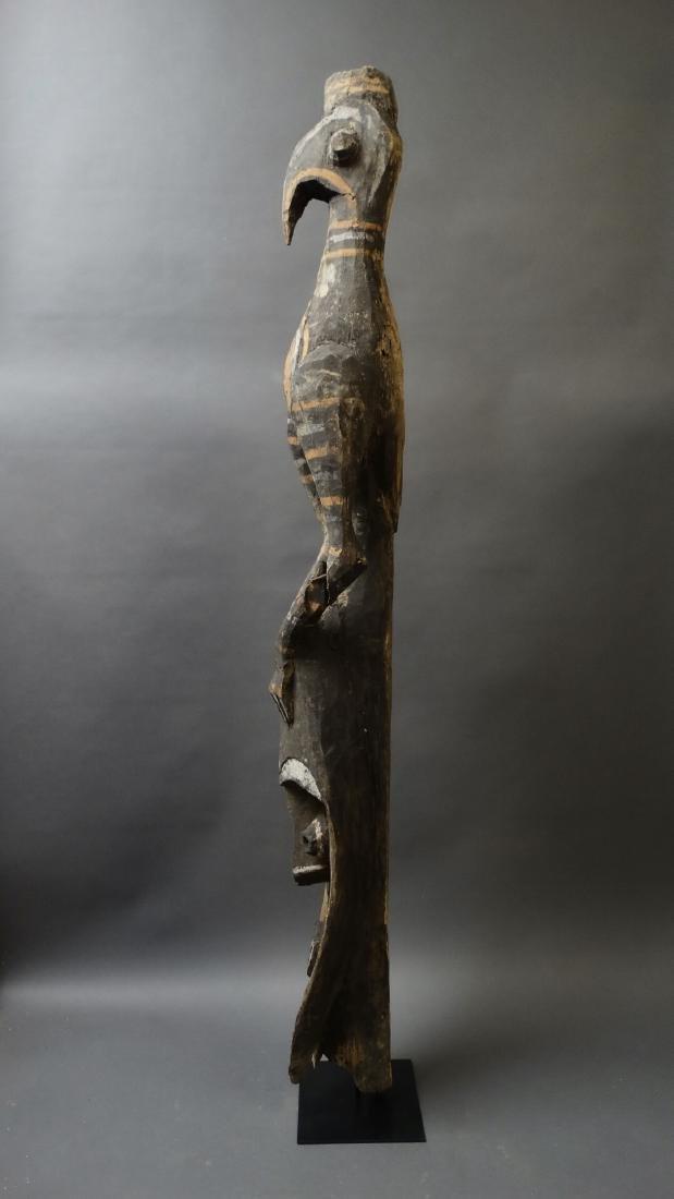 Old 1.5 Mtr Hornbill Bird Figure With Ancestor Sepik - 4