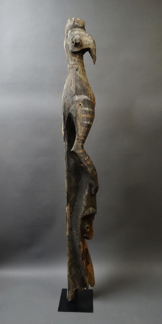 Old 1.5 Mtr Hornbill Bird Figure With Ancestor Sepik - 6