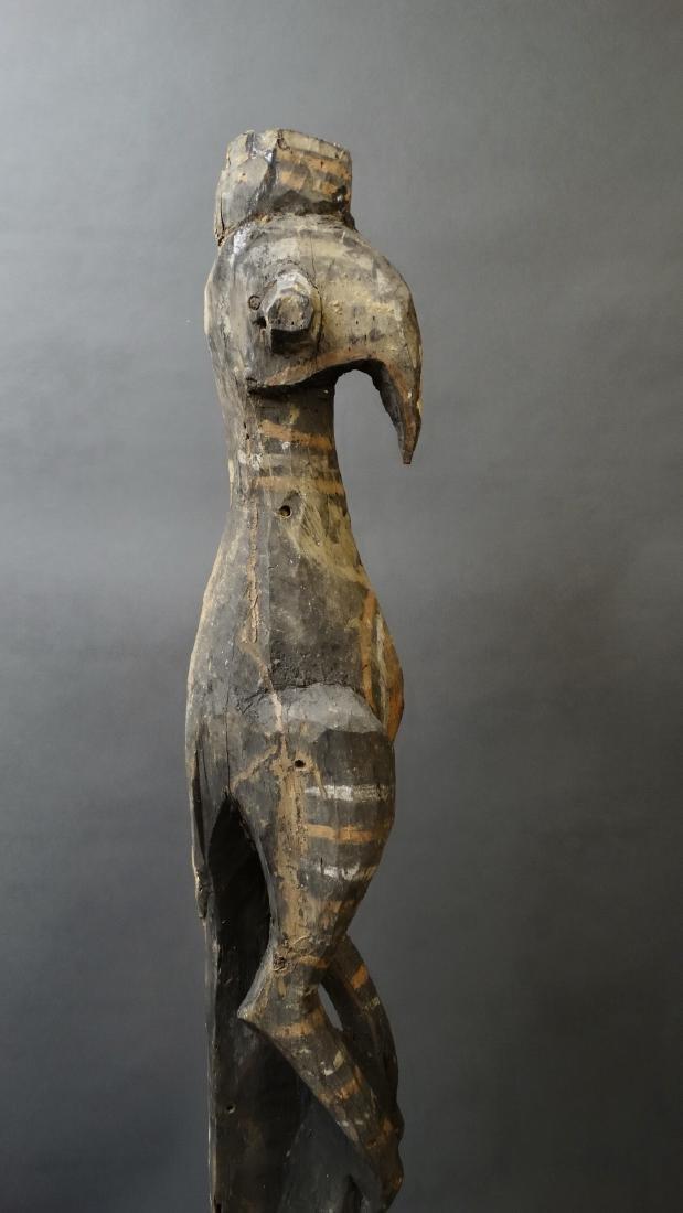 Old 1.5 Mtr Hornbill Bird Figure With Ancestor Sepik - 7