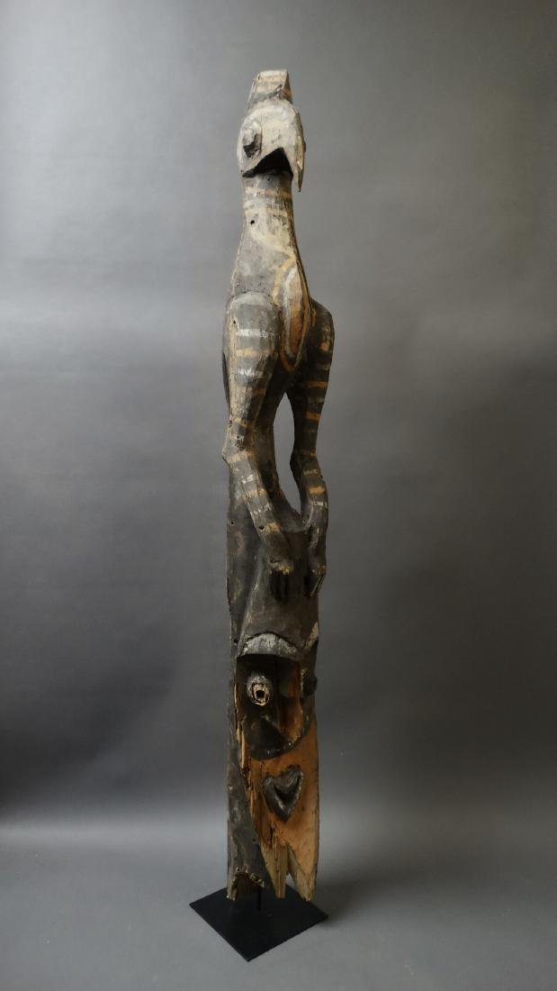 Old 1.5 Mtr Hornbill Bird Figure With Ancestor Sepik - 8