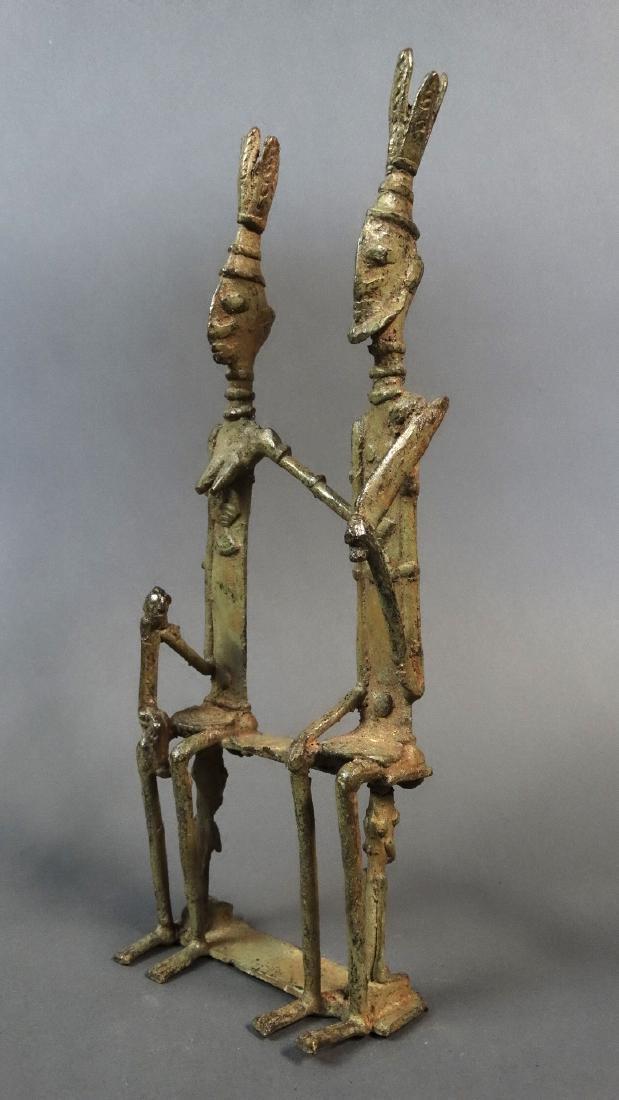 Couple Bronze Ancestors With Child Dogon