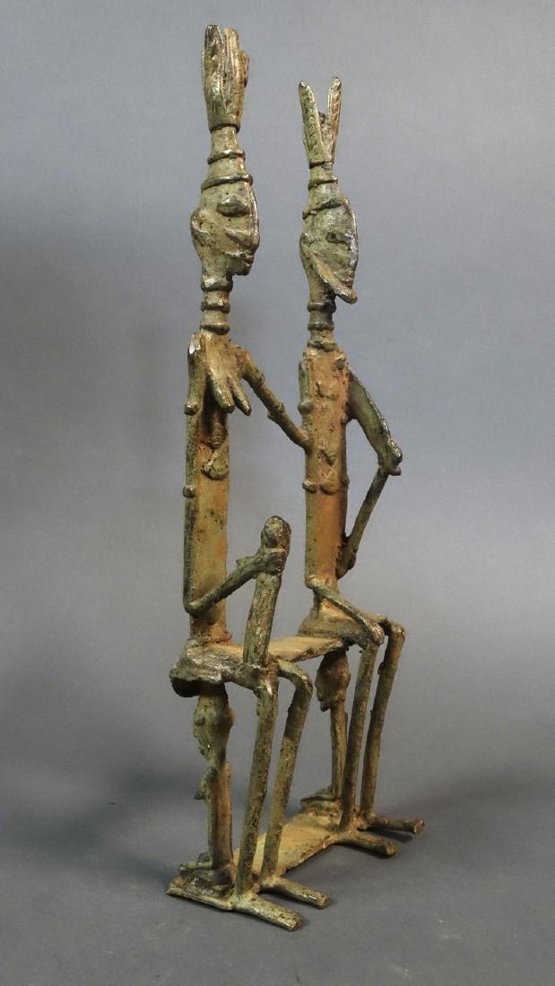 Couple Bronze Ancestors With Child Dogon - 8