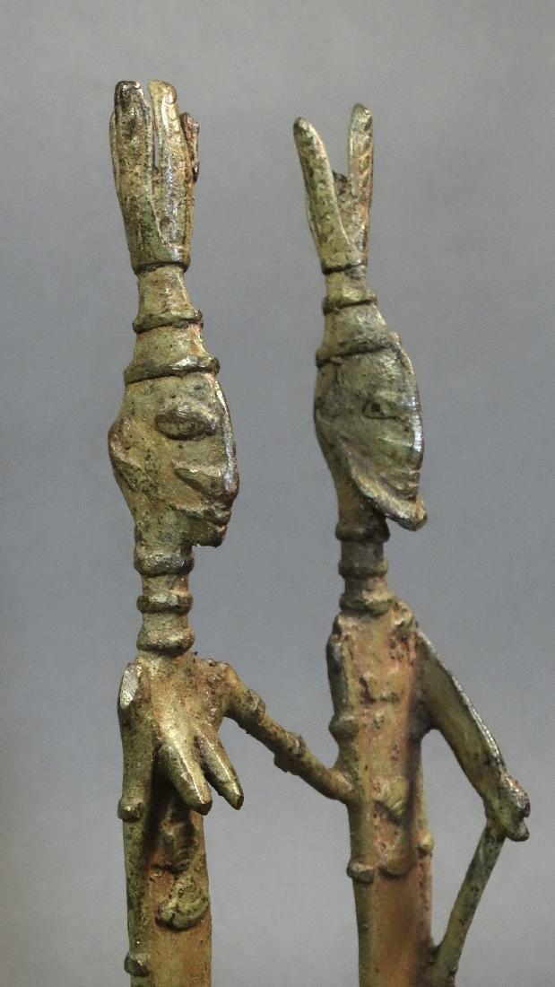 Couple Bronze Ancestors With Child Dogon - 9
