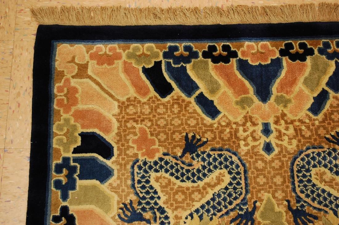 Antique Art Deco Dragon Design Chinese Rug 4x7 - 4