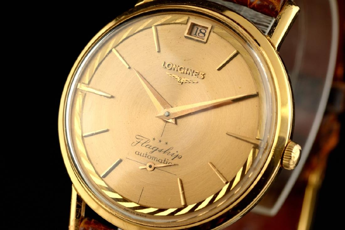 Rare Longines Flagship De Luxe Rose Gold Case And Dial - 2