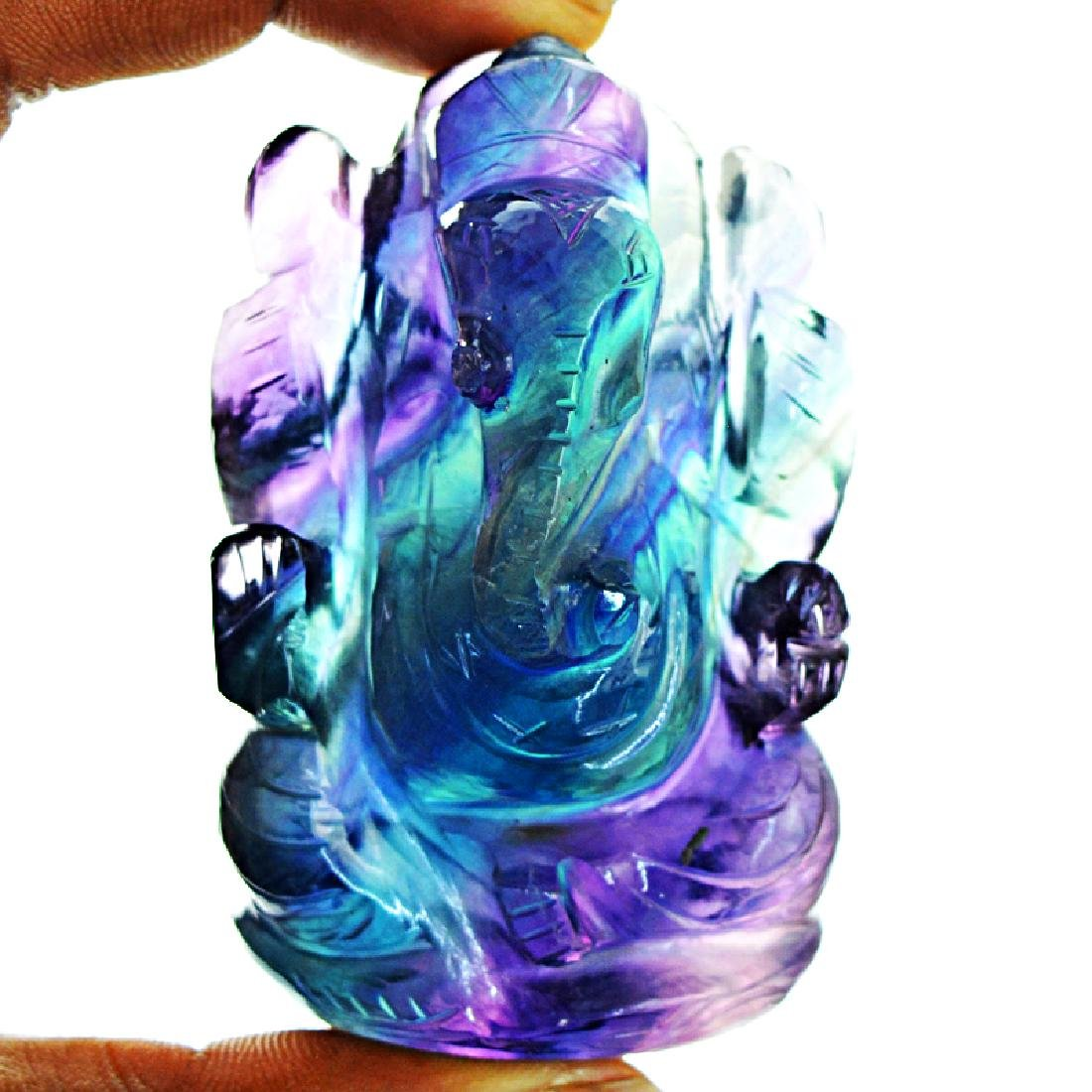 Multicolor Fluorite Carved Ganesha - 2
