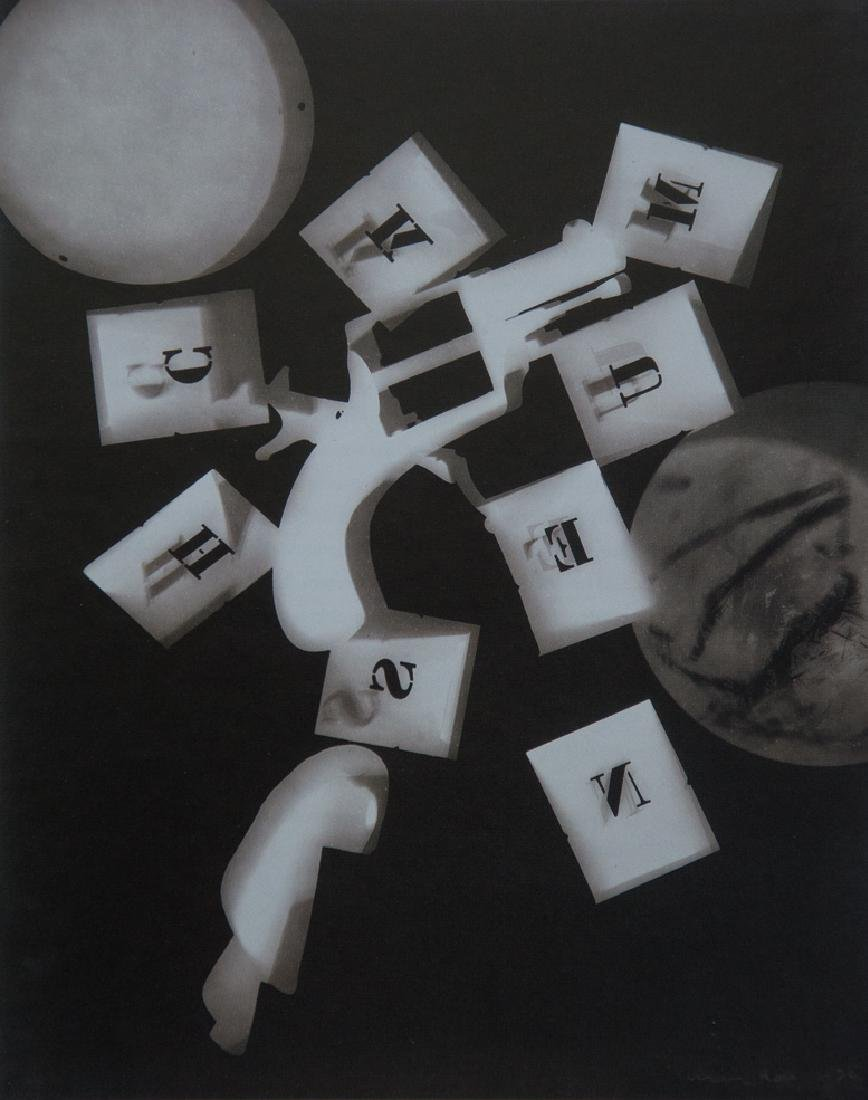 MAN RAY - Untitled Rayograph (Gun with Letter Stencils)