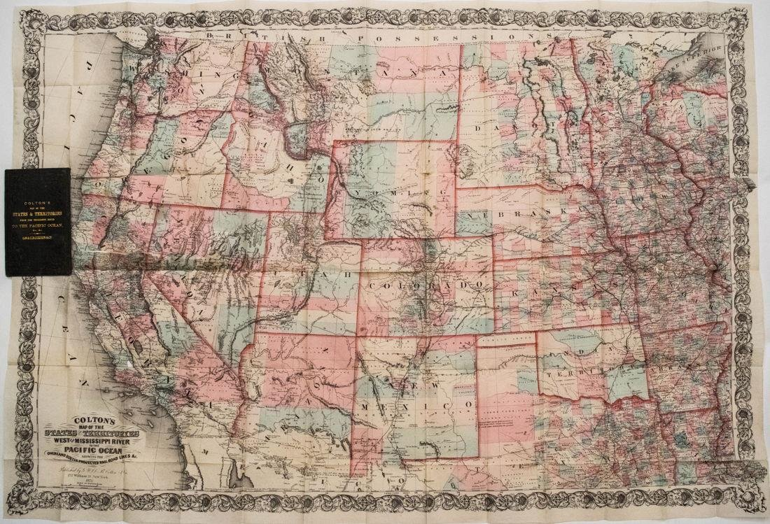 1876 Colton Folding Map of the Western United States --