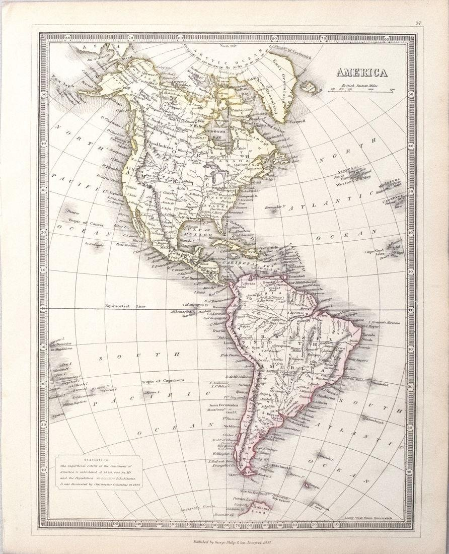 1852 Philip Map of North and South America -- America
