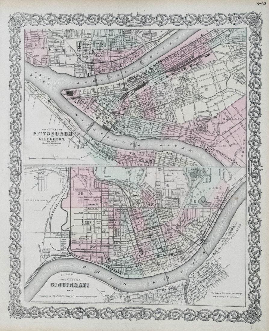 1874 Colton Map of Pittsburgh and Cincinnati -- The