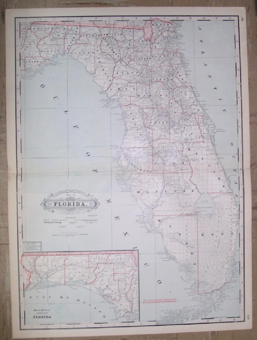 Railroad and County Map of Florida.