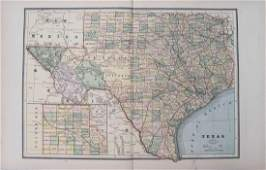 1886 Cram Map of Texas [verso] Indian Territory [and]