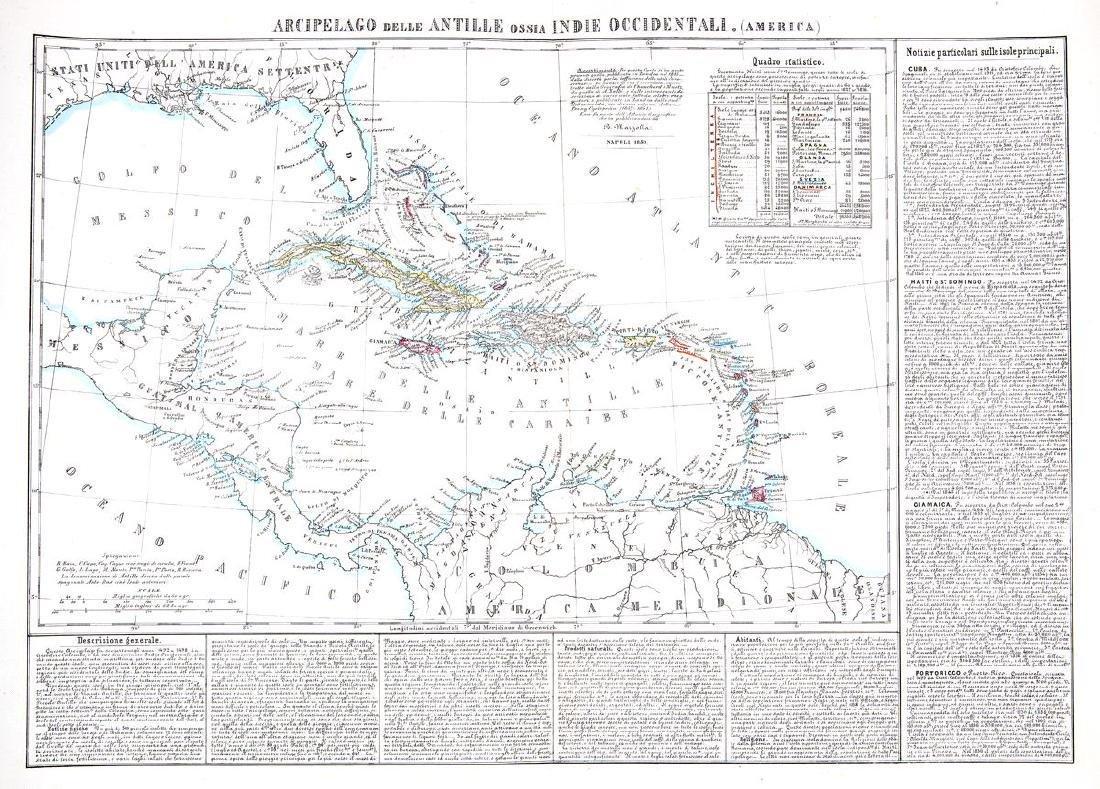 Marzolla: Scarce Italian West Indies Map