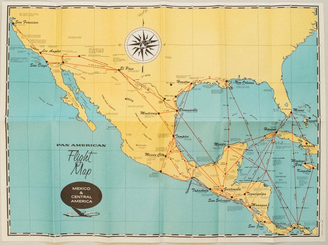 1957 Route Map of Pan American Airline to Mexico,