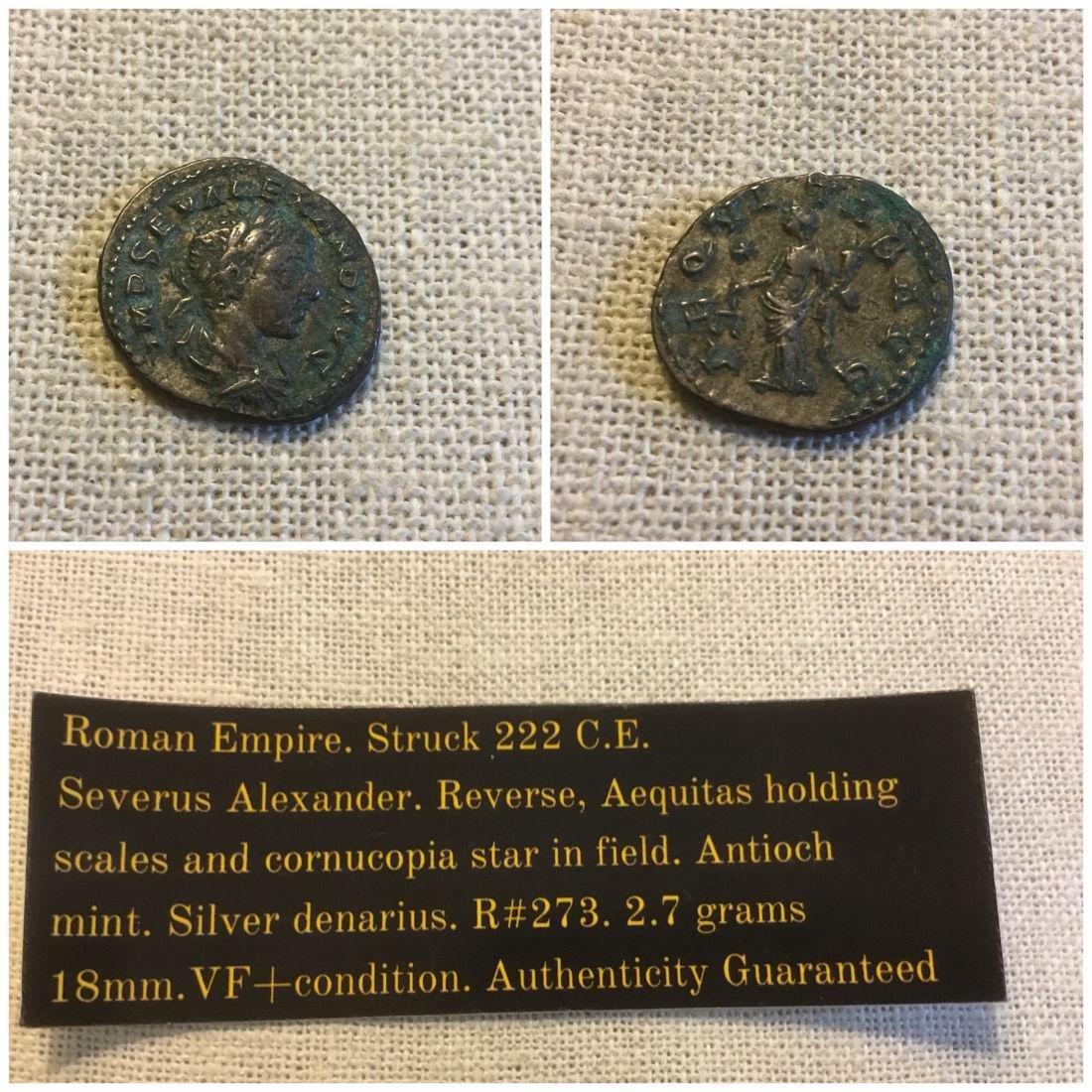 Roman Empire denarius. Severus Alexander 222 C.E. - 2