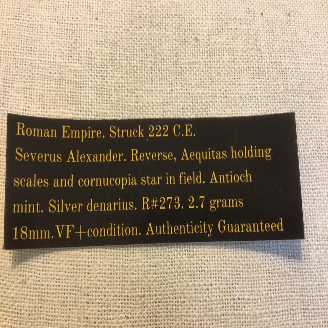 Roman Empire denarius. Severus Alexander 222 C.E. - 4