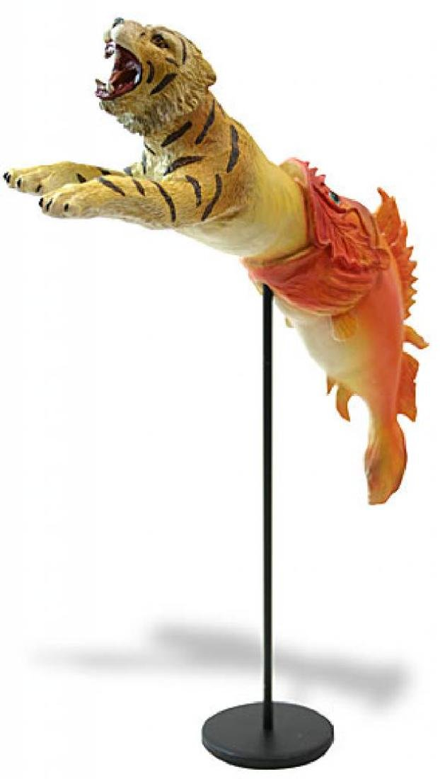 After Salvador Dali: Tiger emerging from fish Statue