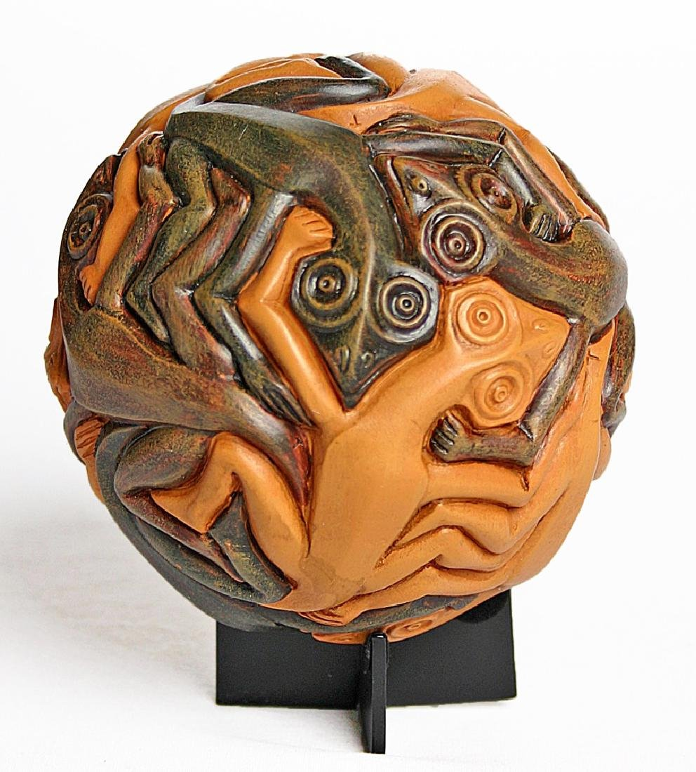After Maurits Escher: Sphere with Reptiles Statue