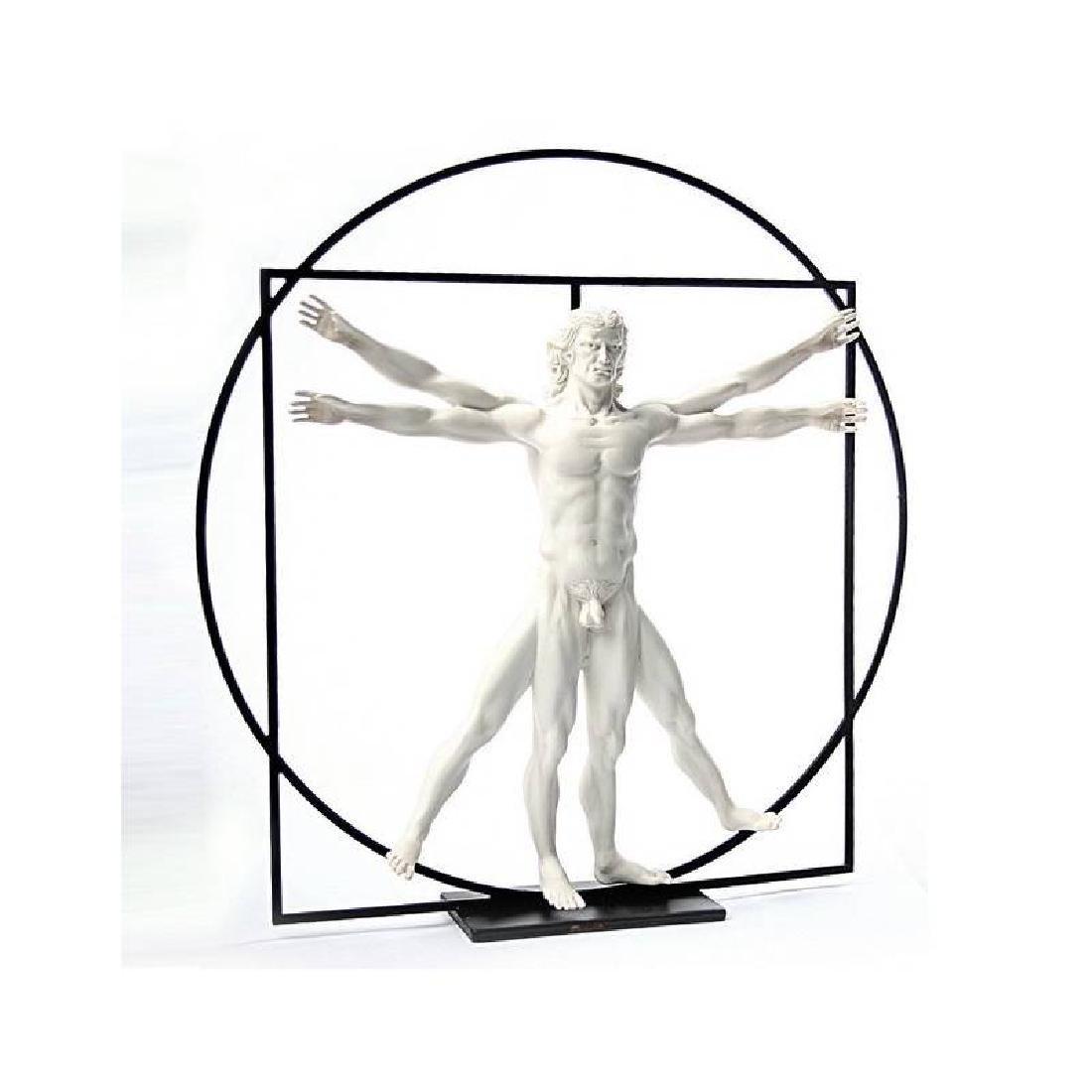 After Leonardo da Vinci: Vitruvian Man White Statue