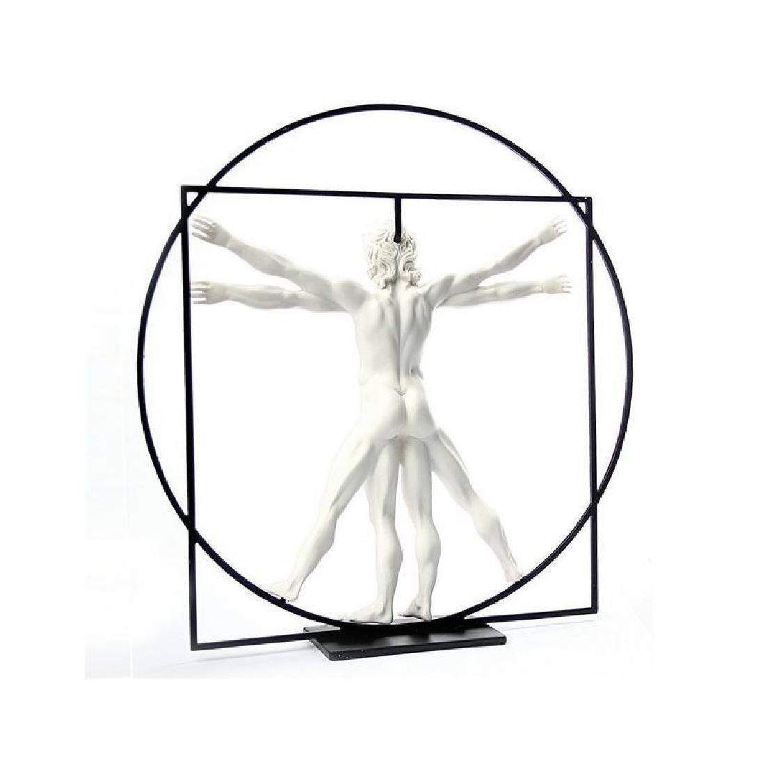 After Leonardo da Vinci: Vitruvian Man White Statue - 2
