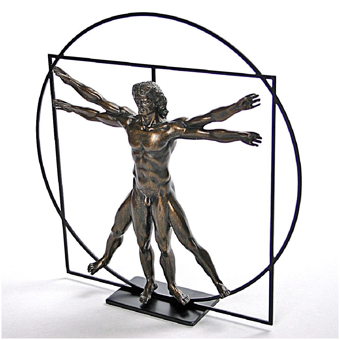After Leonardo da Vinci: Vitruvian Man Dark Statue