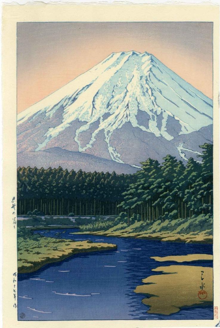 Hasui Kawase Woodblock Mt. Fuji from Oshino Hakkai