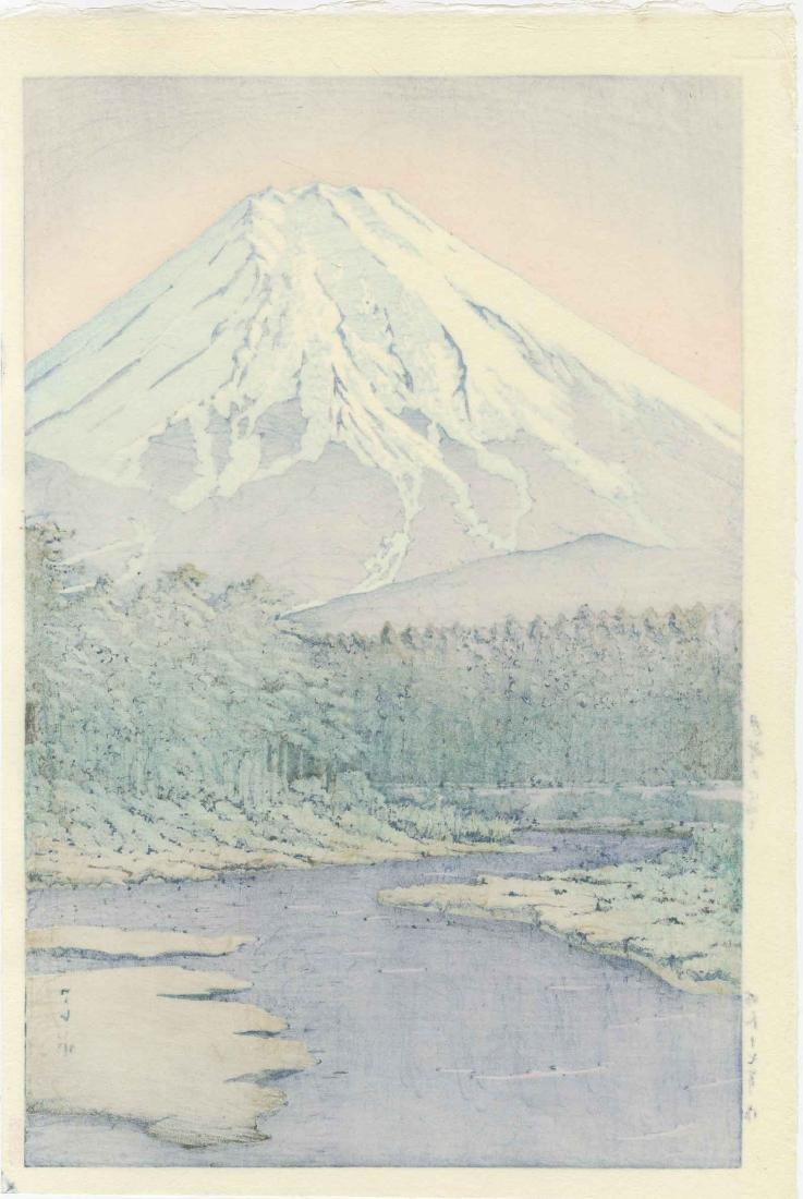 Hasui Kawase Woodblock Mt. Fuji from Oshino Hakkai - 2