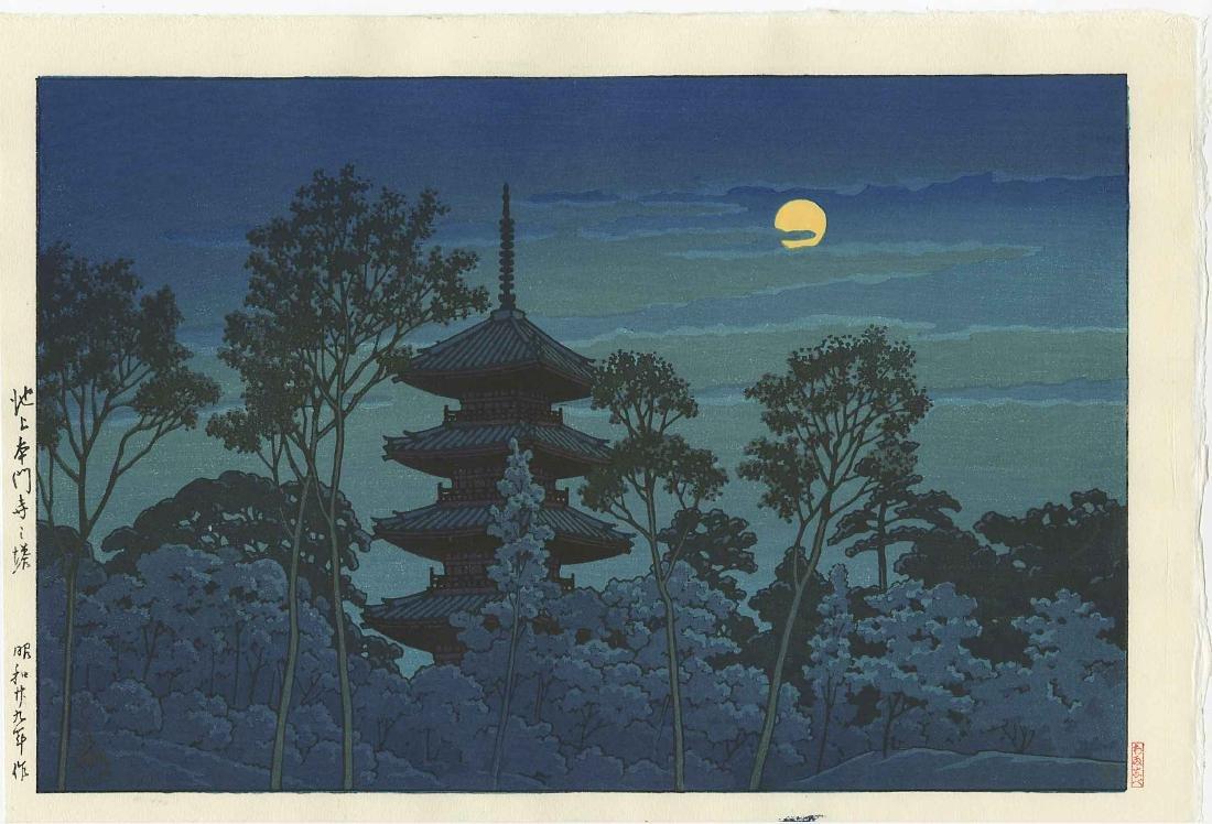 Hasui Kawase Woodblock Night at Hommonji Temple Ikegami