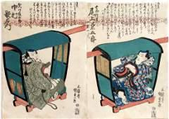Utagawa Kunisada 2 Woodblock Actor Prints