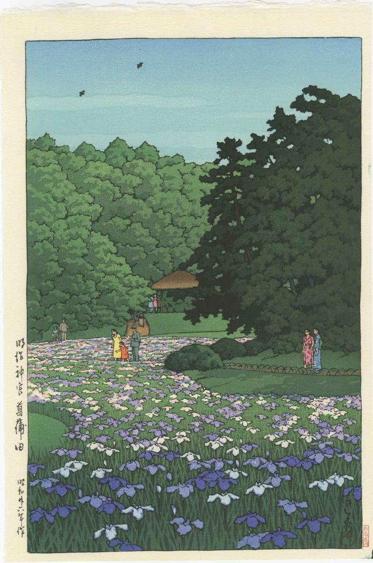 Hasui Kawase Woodblock Iris Garden at Meiji Shrine