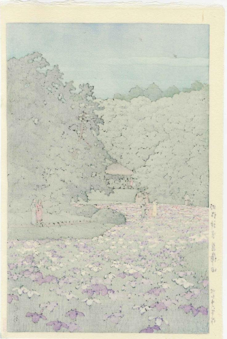 Hasui Kawase Woodblock Iris Garden at Meiji Shrine - 2