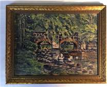 Arthur Wakeling Oil on Board of Central Park. Signed