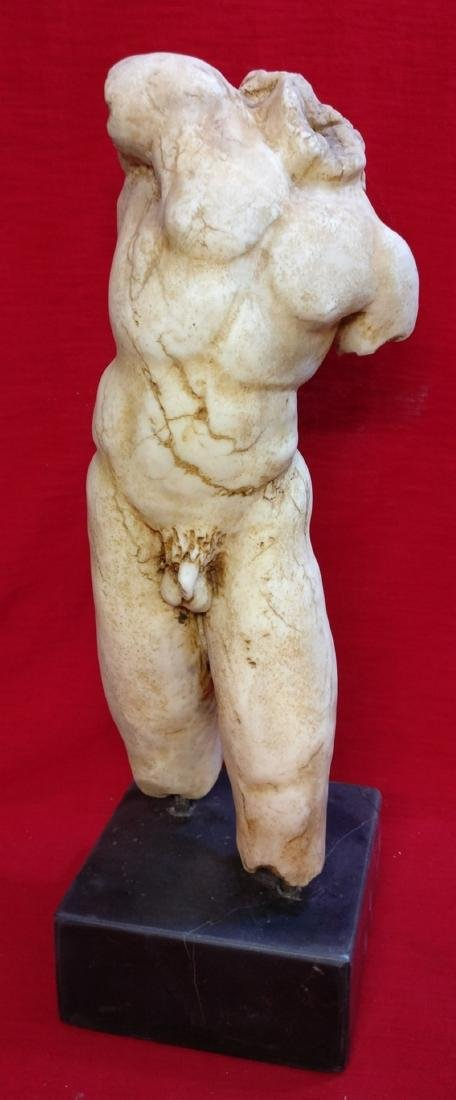 Male Naked Torso in Greek Marble Thassos and Base in