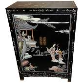 Vintage Asian Hand Carved & Painted Cabinet