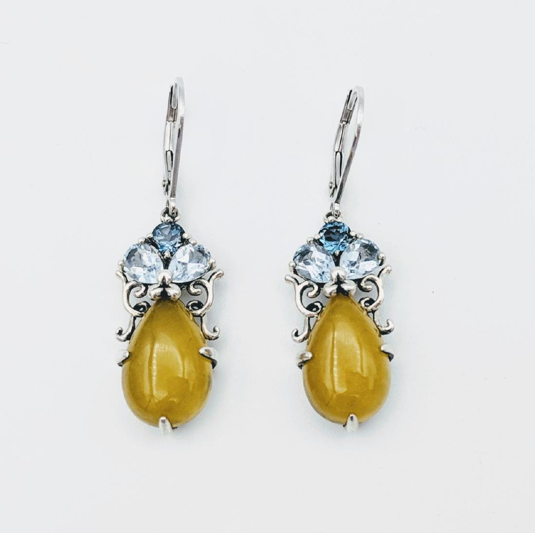 Sterling Silver Yellow Jade Drop Earrings with Blue