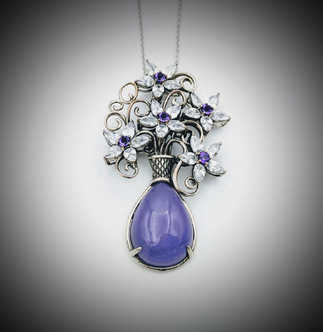 Sterling Silver Violet Jade Amethyst Flower Necklace