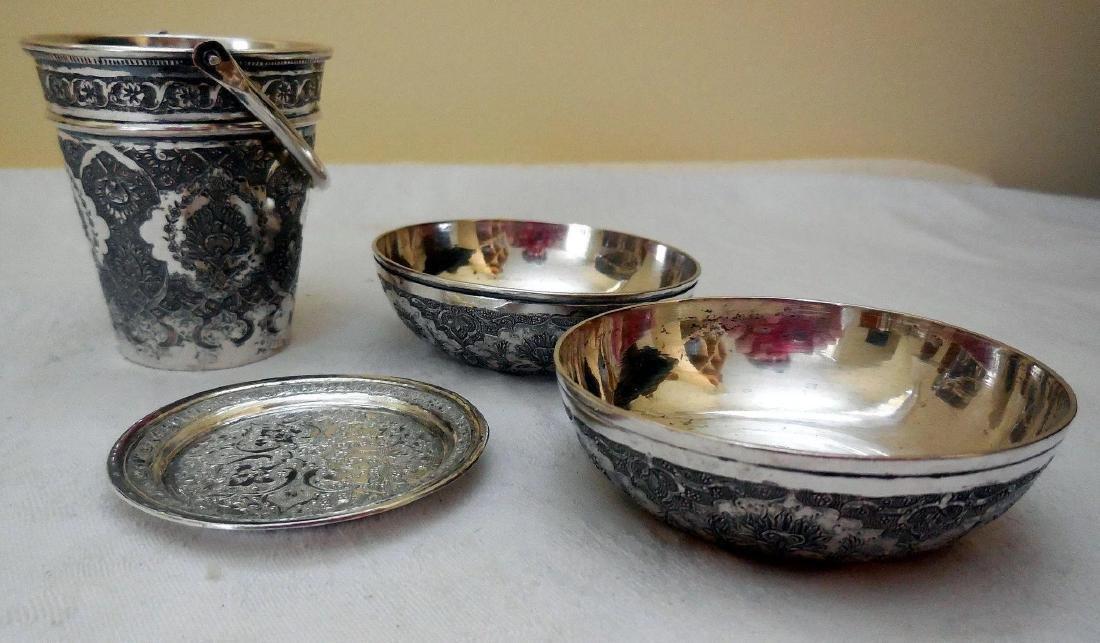 Antique Persian Silver Smoking Set - 2