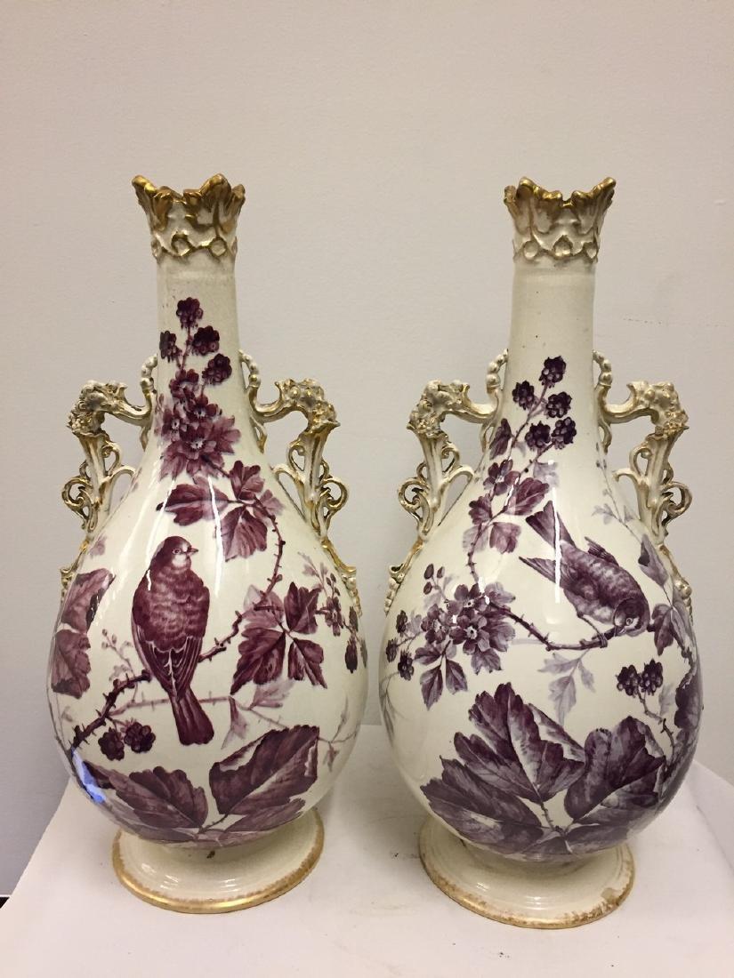 Two-Handled German Porcelain Vases, Royal Bonn, ca1900