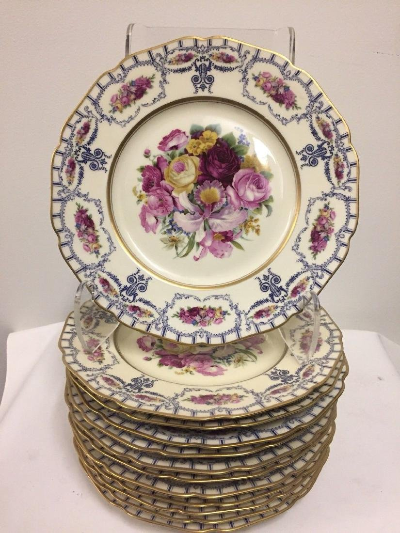Antique Bavarian Floral Decorated Dessert Plates, 1900