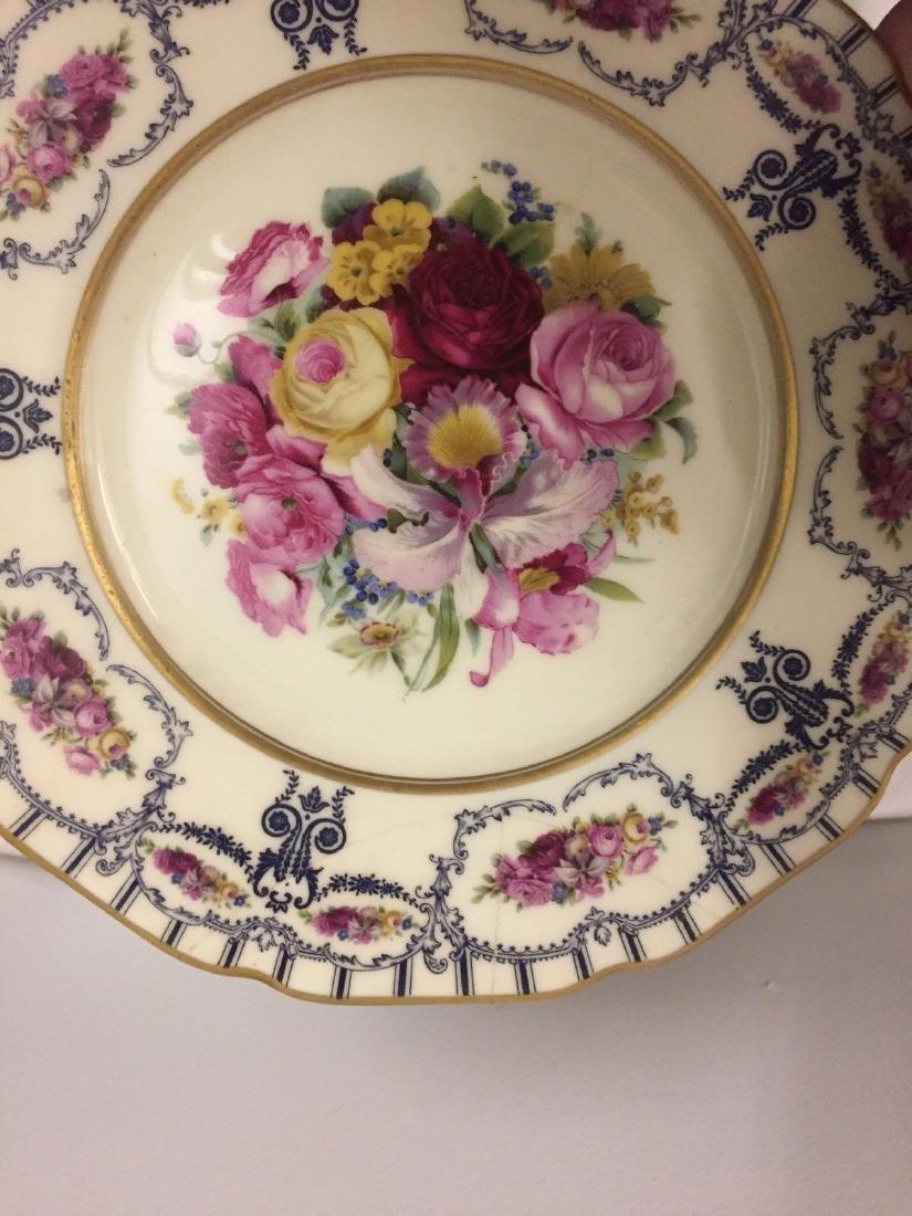 Antique Bavarian Floral Decorated Dessert Plates, 1900 - 9