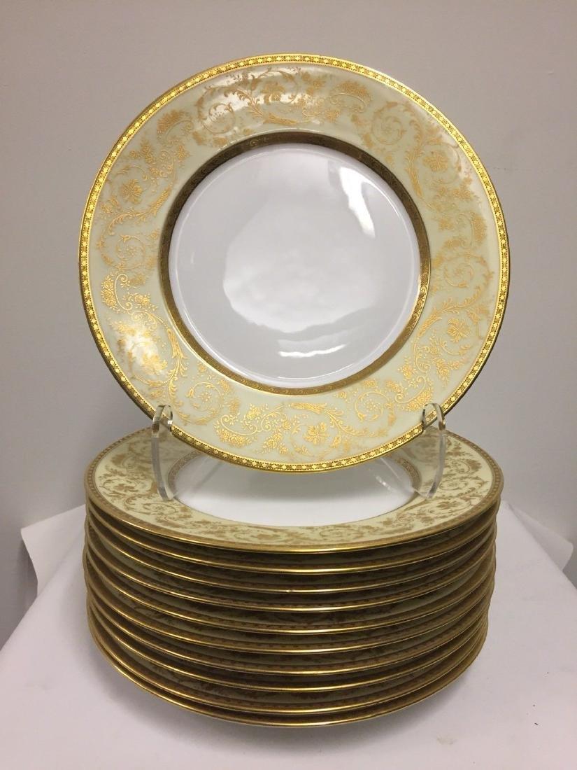 Set of 11 Antique German Porcelain Dinner Plates, 1900