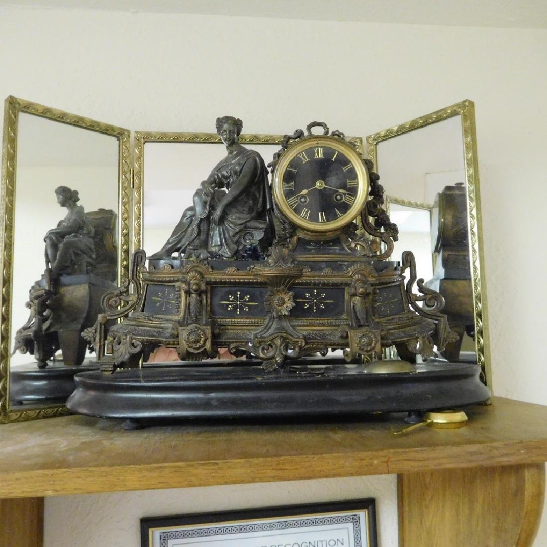 Antique French Figural Bronze and Marble Mantel Clock