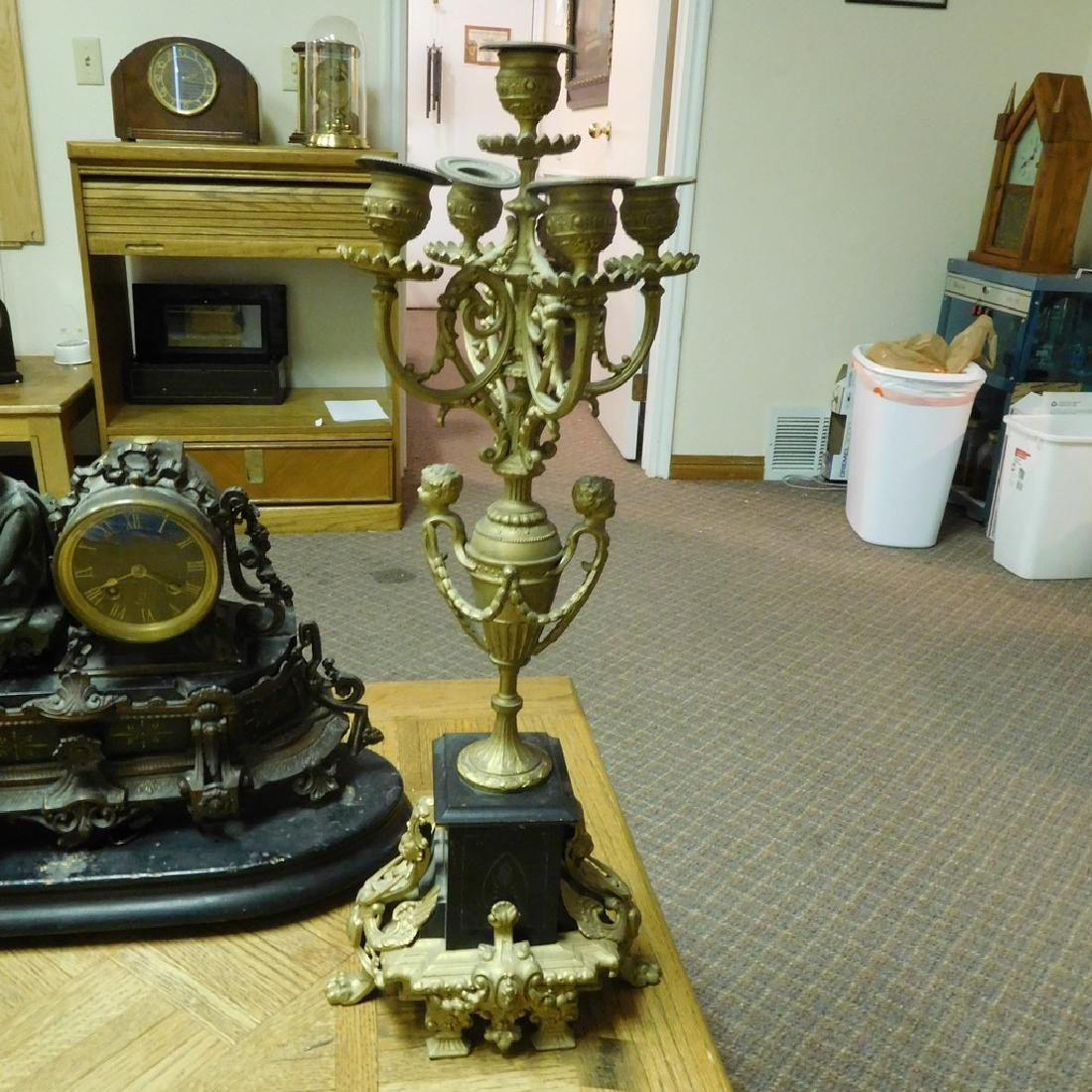 Antique French Figural Bronze and Marble Mantel Clock - 3